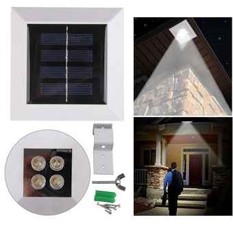 Solar Power Fence Gutter 4 LED Light Outdoor Garden Wall Pathway Lamp White