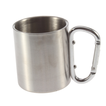 OH 220ml Stainless Steel Outdoor Camp Camping Cup Carabiner Hook Double Wall