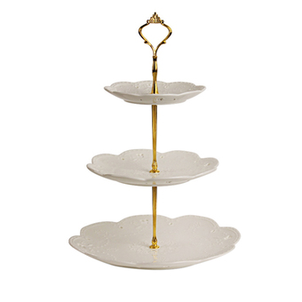 Set of 3 Tiers Cake Plate Stand Handle Fitting Party Crown Rod Gold (Intl)