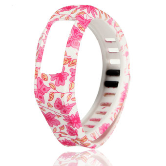 Replacement Silicone Wrist Band Strap w/ Clasp FOR Garmin Vivofit 2 Bracelet Pink Flower L - INTL