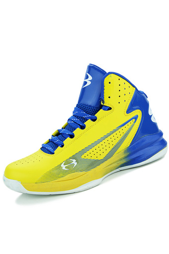 PINSV Leather Men's Sports Shoes Basketball Shoes (Yellow) - Intl