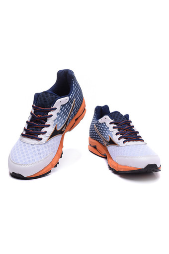 MIZUNO Wave Rider 18 Breathable Running Shoes White Blue (Intl)