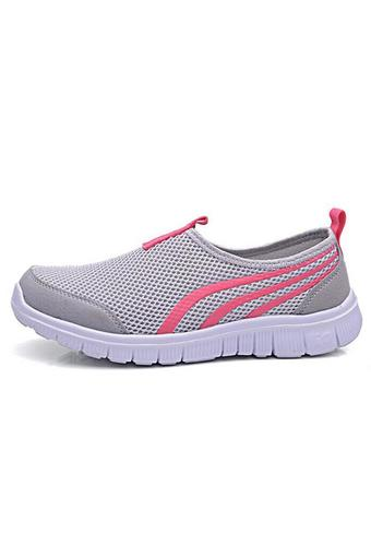 Hang-Qiao New Fashion Women Casual Shoes Sports Running Flats Shoes Breathable Light Grey (Intl)