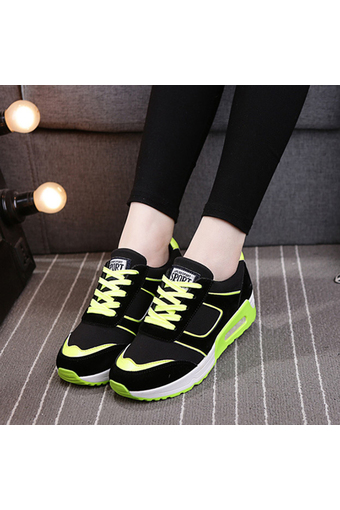 EOZY New Fashion Trendy Women Ladies Colorful GYM Jogging Sports Running Casual Fitness Sneakers Shoes (Black - Green) (Intl)