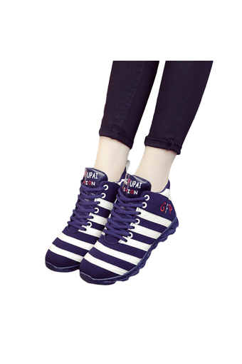EOZY New Fashion Trendy Women Ladies Strips GYM Jogging Sports Running Casual Fitness Sneakers Shoes (Dark Blue&White) (Intl)