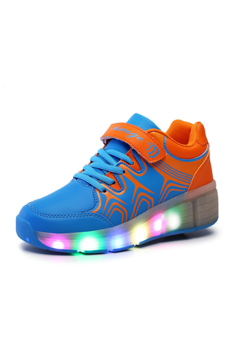 Blue Boy And Girl Colored Lights Sports Heelys Children Fashion Heelys Roller Shoes - Intl