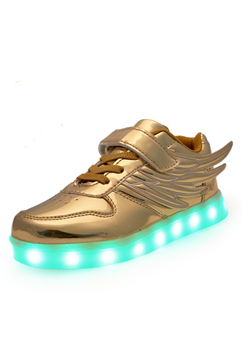 YINGLUNQISHI Children Wing Roller Shoes LED Lighted Flashing Kids Fashion Sneakers (Gold) (Intl)