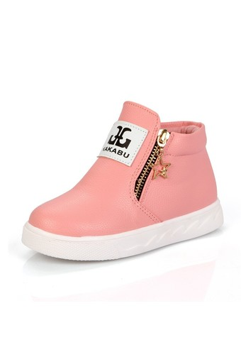 Girls Boys Children Casual PU Leather Soft Ankle Boots Toddler Kids Zipper Shoes (Intl)