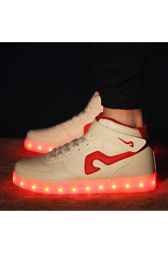 JustCreat Couples Luminous Shoes LED Light Board Shoes(White-Red) (Intl)