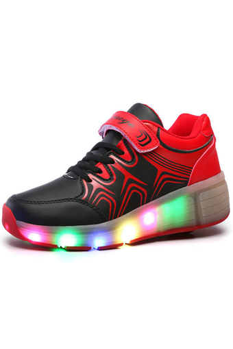 Boy's Girl's LED Light-Emitting Shoes Single-wheeled Roller Shoes (Black/Red) - Intl