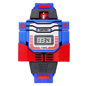 SKMEI Transformation Toy Shape Changing Removable Dial Digital Movement Children Watch with PU Plastic Cement Band(Dark Blue) - Intl