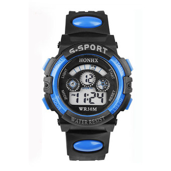 Boys Black and Blue Silicone Strap Watch