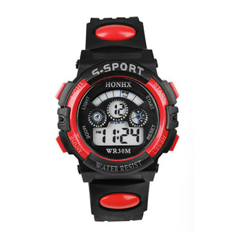 Boys' Red Resin Strap LED Watch