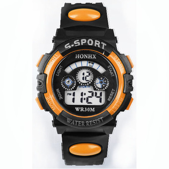 Waterproof Children Boy Digital LED Quartz Alarm Date Sports Wrist Watch Orange