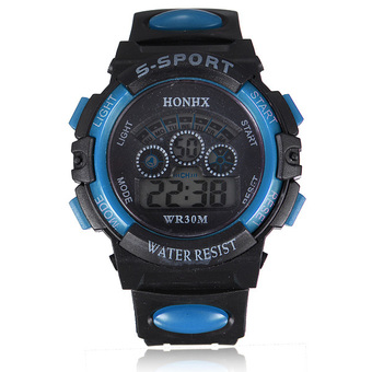 Waterproof Children Boy Watch Digital LED Quartz Alarm Date Sports Wrist Watch Blue (Intl)