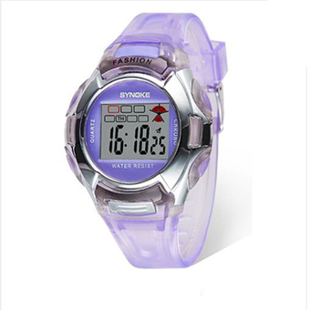 Synoke 99329 PU Leather Strap Round Dial LED Display Digital Watch Students Wristwatch (Purple)