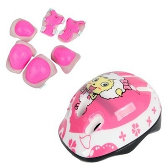 Elbow Wrist Knee Pads and Helmet Sport Safety Protective Gear Guard Adjustable for 3-6Years Kids Children Skateboard Bicycle Ice Skate Roller Skating Cycling Mini Riding Blading and Other Extreme Outdoor Sports Equipment Set of 7pcs(Pink) (Intl)