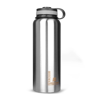 1000ML Wide Mouth Water Bottle Stainless Steel Insulated Vacuum Travel Sports Silver