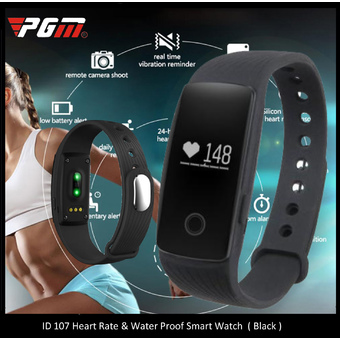 PGM ID107 Smart Bracelet Heart Rate Mileage Calorie Sleep Monitor Call Reminder Pedometer Remote Camera Anti Lost (Black)