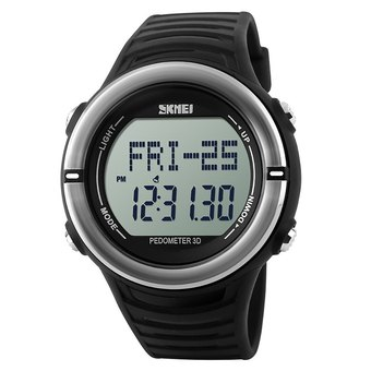 Skmei 1111 Heart Rate Sports Digital Watch with Pedometer Function Water Resistant (Silver)- Intl