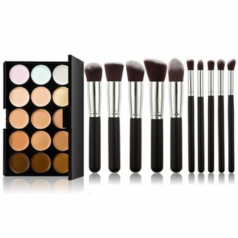 15 Color Concealer Camouflage Makeup Palette and 10 Pieces Makeup Brush Kit for Cosmetic (Silver + Black)