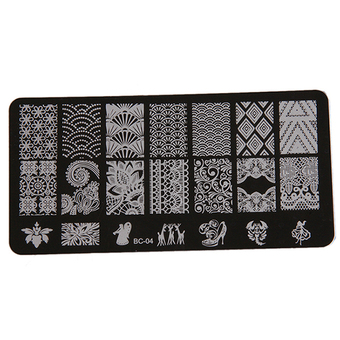 HengSong Nail Art Templates Flower Lace Design BC-04 Black