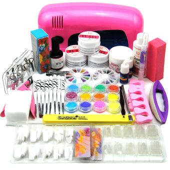 9W UV Gel Curing Lamp Dryer Glitter Nail Art Decoration Set (Intl)
