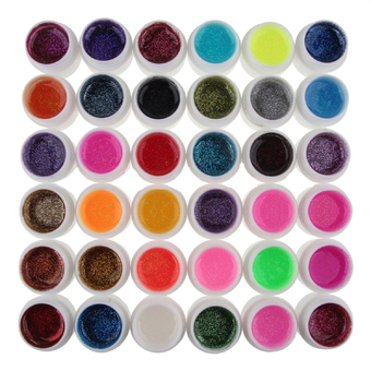 36 Colors UV Gel glitter Mix Color for Acrylic Nail Art Decoration DIY Set Accessories (Intl)