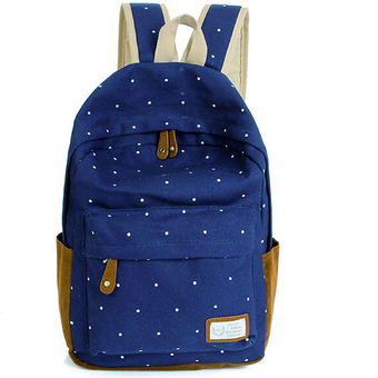 Canvas Backpack Satchel Rucksack Dot Printing Schoolbag Leisure Travel Shoulder Bag Dark Blue (Intl)