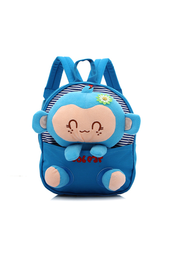 ELENXS Children Kids Cute Backpack with Detachable Cartoon Monkey Lovely School Canvas Bag Animal Sky Blue 2 - Intl