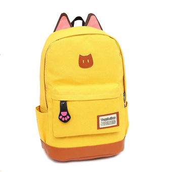 Cat Ear Cartoon Canvas Backpack Satchel Rucksack Shoulder SchoolBag Yellow