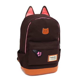 Cat Ear Cartoon Canvas Backpack Satchel Rucksack Shoulder SchoolBag Black (Intl)