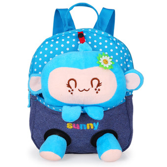 Cartoon children's school bags baby backpack doll bags travel backpack Blue Monkey (Intl)