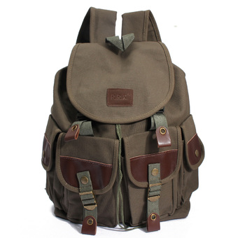 Vintage Canvas Leather Travel Backpack Sport Rucksack Satchel Camping School Bag Green (Intl)