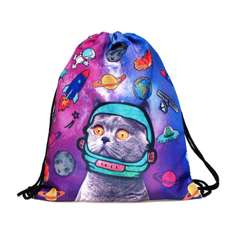 3D Digital Printing Drawstring bag with space cat pattern (Intl)
