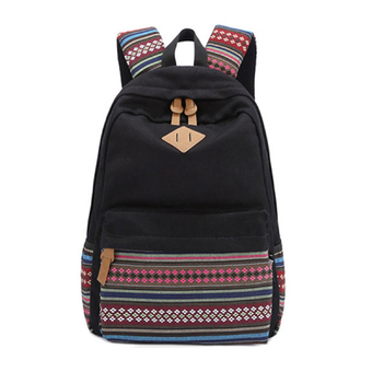 Unisex Canvas School Backpack (Black) (Intl)