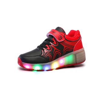 JustCreat LED Flying Shoes Single-wheeled Roller Shoes(Black-red) (Intl)