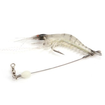 Glow Shrimp Shape Fishing Lure Soft Bait Tackle - White