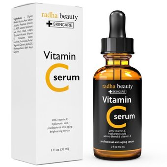Radha Beauty VITAMIN C Serum for Face - Organic Vit C 20% + E + Vegan Hyaluronic Acid ขนาด 60 มิล Made in USA