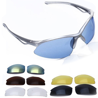 Outdoor Sports UV400 Protection Glasses Sun Glasses Sunglasses with 5 Pairs Replaceable Lens for Cycling Riding Hiking Motorcycling Climbing Silver Frame (Intl)