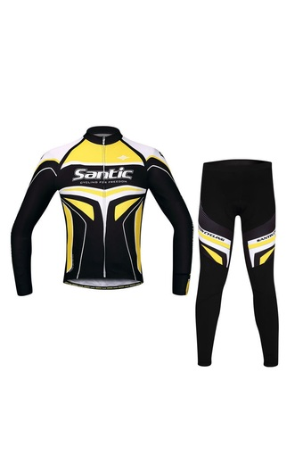 SANTIC Racing Team Years of Professional 4D Pad Long Cycling Suits Yellow - INTL