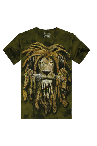 Men Cotton T-shirt with 3D Tie-Dyed Lion Pattern (Intl)