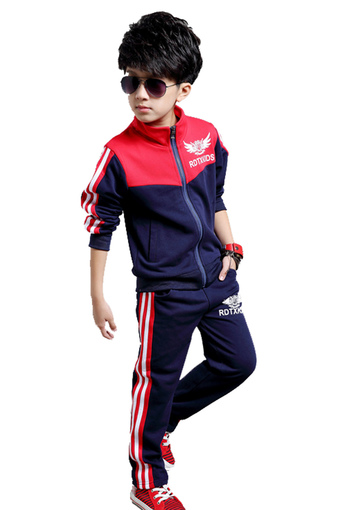 Boys Casual Sporty Suit (Navy Blue) (Intl)