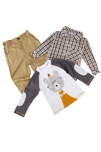 Cyber Kids Children Baby Boy Wear 3pcs Set Cartoon Tops and Checked Shirt and Solid Pants (Intl)