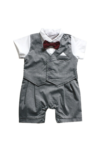 Baby Boys Suit Bow Tie Colllar Short Sleeve Long Rompers Silver (Intl)