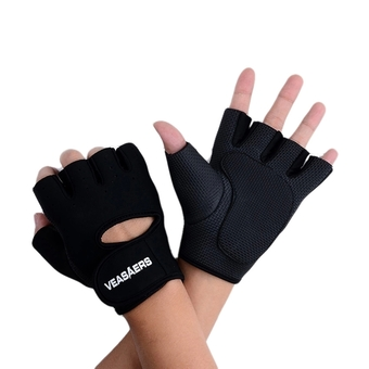Sport Cycling Fitness GYM Half Finger Weightlifting Gloves Exercise Training (Black) - Intl