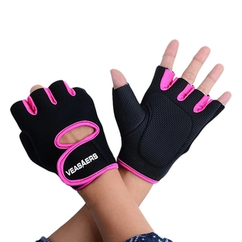 Sport Cycling Fitness GYM Half Finger Weightlifting Gloves Exercise Training (Black/Rose red) - Intl