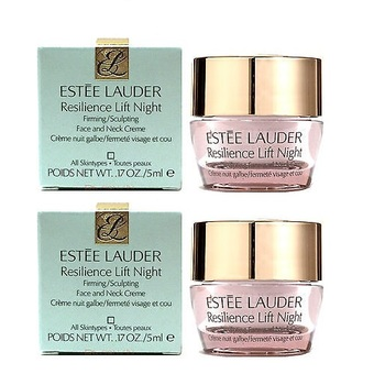 ESTEE LAUDER Resilience Lift Night Firming/Sculpting Face and Neck Creme ขนาดทดลอง 5 ml (2 กระปุก)