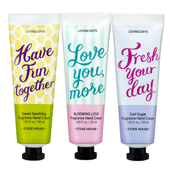 Etude House เซตครีมทามือ 3 ชิ้น 3 กลิ่น Loving Days Fragrance Hand Cream 50ml #Have Fun Together + #Fresh Your Day + # Love You More