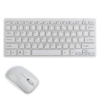 9final Modern Design Ultra Thin Design 2.4GHz Mini Wireless Keyboard + Cover + Mouse Kit for Desktop Laptop PC Computer (White)(...)